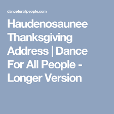 haudenosaunee thanksgiving address for all longer
