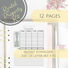 Rental Income Expenses Spreadsheet Business Planner Printable Property Management Airbnb Worksheet
