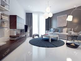 idea of contemporary living room white and grey walls polished