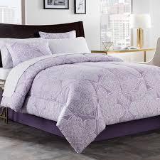 lea 6 8 piece comforter set in purple white bedding purple