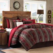 Red King Comforter Sets Country Red And Grey Striped Cal King Comforter Set With Rustic