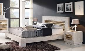 chambre ceruse lit bois et bambou cérusé blanc rumba dimensions au choix 5494