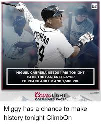 coors light cold hard facts miguel cabrera needs 1 rbi tonight to be the fastest player to reach