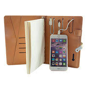 creative pu leather charging diaries paper for corporate gifts