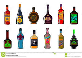 alcoholic drinks bottles liquor bottles set alcoholic beverages whiskey illustration stock
