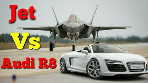 lexus lfa vs audi r8 drag race audi r8 vs fighter jet youtube