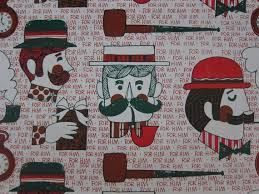 vintage christmas wrapping paper rolls vintage christmas wrapping paper men mustache pipe pocket