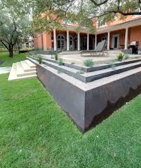 Terraced Retaining Wall Ideas by Terraced Retaining Wall Landscape Contemporary With Metal Fire Pit