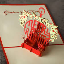 1 pc homestia cross red merry christmas card laser cut 3d paper
