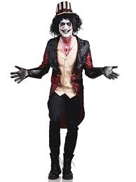Psycho Halloween Costume Madhouse Ring Master Costume Mens Psycho Insane Creepy