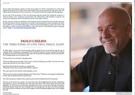 live encounters paulo coelho u2013 the three forms of love
