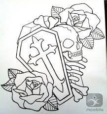 cross coffin skull and roses outline tattoo designs tattooshunt com