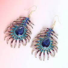 feather earings peacock feather earrings by junk jewels notonthehighstreet