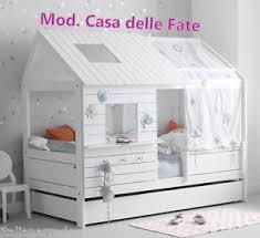 letto casa letto casetta casa fate legno laccato bianco tetto cameretta