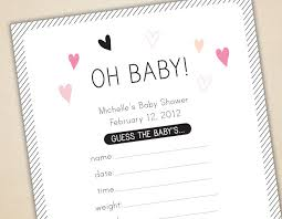 baby shower guessing oh baby baby shower cards and sign guess weight date length