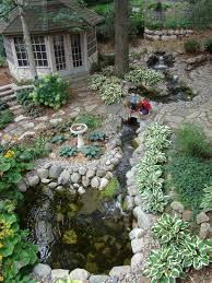 decoration in backyard creek ideas river rock garden ideas