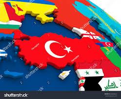 Turkey On World Map by Map Turkey On Globe Embedded Flags Stock Illustration 426648820
