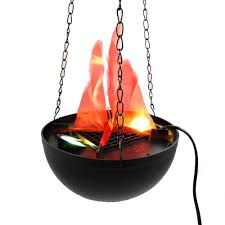halloween electric props led hanging fake flame lamp torch light fire pot bowl halloween