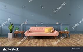 Pink Sofa Com Modern Interior Living Room Pink Sofa Stock Illustration 663783682