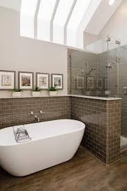 this airy bathroom blend traditional details with fresh modern