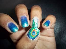 peacock nail art design nails by nataliya superb glittery peacock