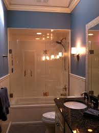 chic frameless shower door in bathroom traditional with frameless