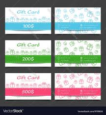 gift cards discount set of gift cards discount certificate template vector image