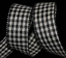 black and white wired ribbon plaid wire edged craft ribbons ebay