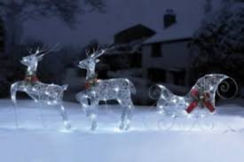 flying reindeer and sleigh set outdoor led lights decorations