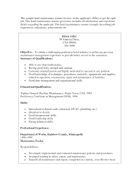 Maintenance Resume Objective Resume Maintenance Resume