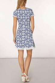 blue floral daisy trim fit u0026 flare dress shopperboard