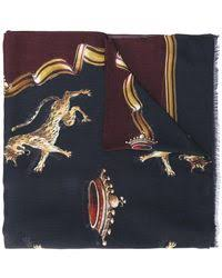 gucci angry cat print scarf in black for men lyst