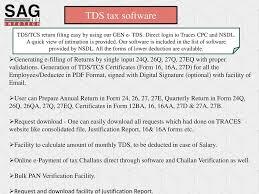 list of software service begins here u2026 tds software sag infotect pvt ltd ppt