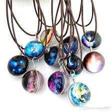 blue glass pendant necklace images Wholesale star night pendant necklace for women and men space jpg