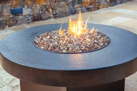 Firepit Glass Patio Pit Table With Colorful Glass And The