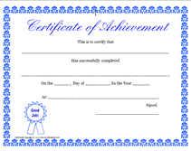 Template For A Certificate Of Achievement free printable certificate of achievement blank templates
