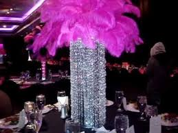 Sweet 16 Candelabra Rent Crystal Chandeliers With Pink Ostrich Feathers By Sweet