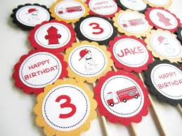 firefighter cupcake toppers dalmatian truck hydrant cupcake toppers personalized