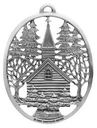 Village Church Pewter Christmas Ornament Handcrafted In New