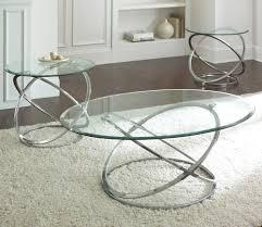 steve silver orion 3 piece glass top coffee table set w chrome