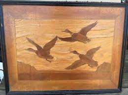 wood inlay antique marquetry wood inlay framed picture wall hanging ducks