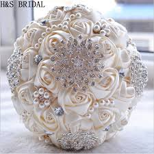 artificial wedding bouquets ivory white bridal wedding bouquet de mariage pearls bridesmaid