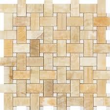 honey onyx polished basketweave mosaic tile w white dots honey