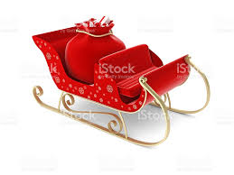 santa sleigh and santas sack with gifts on white background stock
