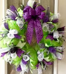 halloween green deco mesh wreath with purple and black spider web