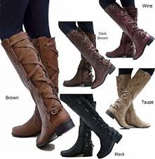 ecd brown black buckle knee high cowboy boots 5 5
