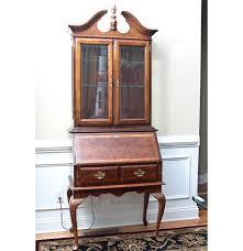 Furniture Secretary Desk Cabinet by Queen Anne Style Glass Cabinet Secretary Desk Ebth
