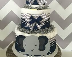 3 tier elephant diaper cake yellow and gray baby shower
