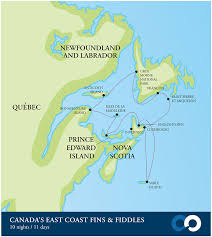 map canada east coast travel with us canada s east coast fins fiddles