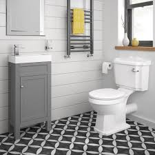 Cloakroom Furniture Vanity Units 440mm Melbourne Earl Grey Floor Standing Vanity Unit Soak Com